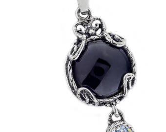 Silver Pendant, Black Onyx + Clear CZ pendant, Gemstone pendantl, Sterling silver, handmade