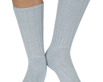 Erin women's extra warm elastic free Alpaca bed socks in soft-blue