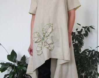 Asymmetric Over-Sized Tunic Long Tunic Short Sleeve Linen Tunic Top Long Blouse Floral Motiv & Nara LT014