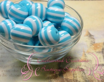 20mm Light Blue and White Striped Beads Qty 10