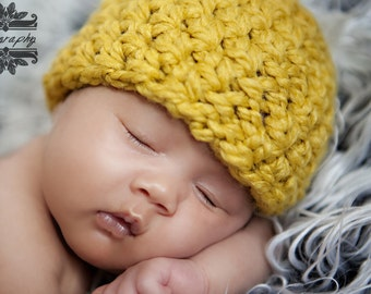 Newborn Baby Beanie Hat Citron Yellow