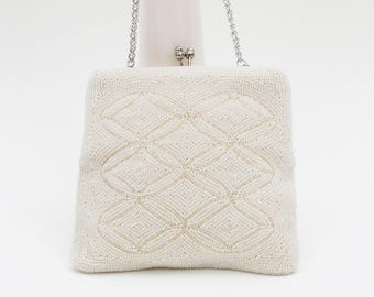 White Beaded Evening Bag - Vintage 1960s Bridal Handbag