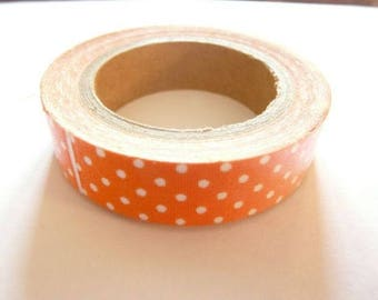 1 roll of adhesive fabric orange polka dots 5 meters