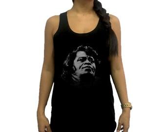 James Brown Celebrities Women Tank Top Singlet Vest Tunic Tee Shirt Black / Dark Gray