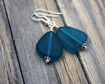 Teal Sea Glass Earrings Seaglass Earrings Sea Glass Jewelry Beach Glass Earrings Beach Glass Jewelry Beach Jewelry Seaglass Jewelry Maui 070