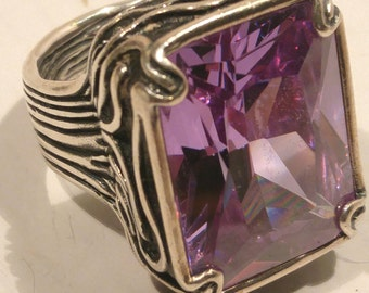 Large Amethyst and Sterling Silver Ring