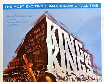 "King of Kings. 1961 14""x22"" US Movie Poster. Reynold Brown Art.Jeffery Hunter(Jesus),Robert Ryan(John the Baptist),Siobhan McKenna,Rita Gam"