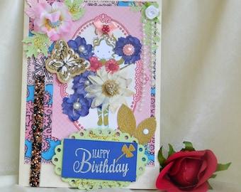 Happy birthday card. Gift card girls. Handmade boxed card. Child birthday. First birthday gift. Little sister card. Girl first birthday.