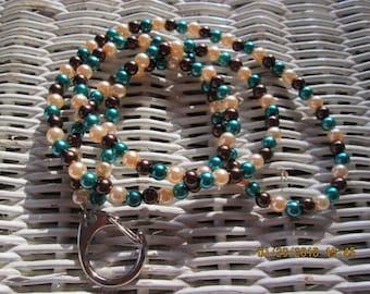 811 Pearl 6mm acrylic mix handmade beaded lanyard-Womens pearl lanyard
