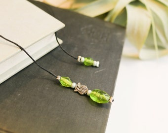 Owl bookmark with green beads