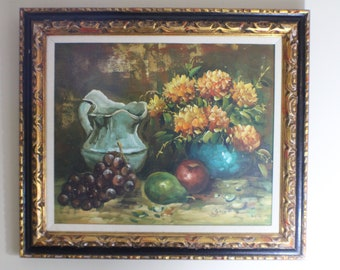 "Fruits and Flowers Signed Oil Painting by ""Golden"""