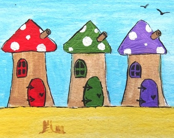Seaside Fairy Houses Print Magnet