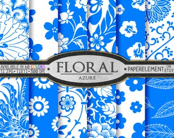 Azure Blue Floral Digital Paper Pack for Scrapbooking - Printable Flower Patterns - Instant Download