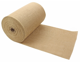 """50 Yards - 12"""" Premium Burlap Roll - Finished Edges - Eco-Friendly Natural Jute Burlap Fabric - For 12 Inch Table Runners & Rustic Decor"""