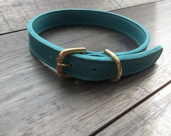 Robust Blue Leather Dog Collar