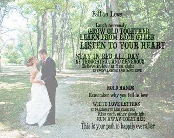 Custom Word Art Print With Photograph: Wedding, Engagement, Anniversary (UNFRAMED)