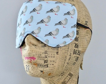 Sleep mask in a cotton pigeon print. Pigeon eye mask.