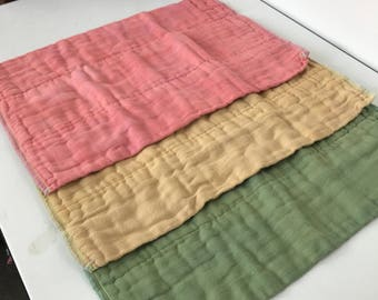 Burp Cloths Set of 3, Hand Dyed, Organic Cotton, Cloth Diapers, Spring Pastels