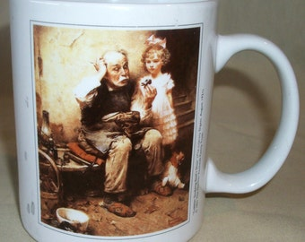 NORMAN ROCKWELL Coffee Mug Cup COBBLER Studying Doll's Shoe Colorful Graphics