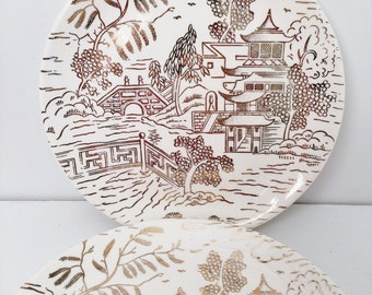 Golden Willow 4 Plates by Nasco, Simplicity Dinner plates, USA