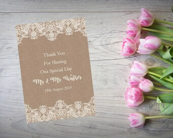 Personalised Wedding Thank You Cards with Matching Envelopes Pack Of 10 TY89