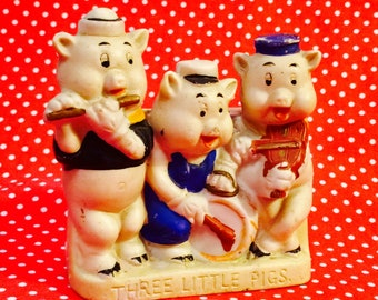Walt Disney Anthropomorphic Three Little Pigs Toothbrush Holder made in Japan circa 1930s