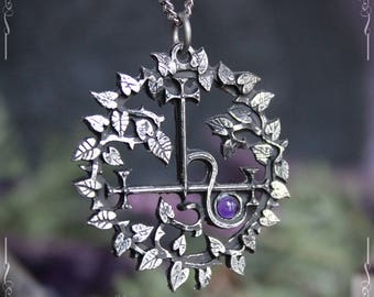 Sigil of Lilith pendant, seal of Lilith pendant with leaves, Ishtar, Inanna, with red abalone, garnet, labradorite, amethyst