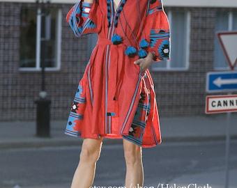 Boho Red Linen Embroidered Dress Vyshyvanka, Mexico Style, Ukraine Clothing, Mexican Embroider, Kaftan, Abaya, Caftan, Linen short tunic