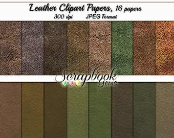 "Digital Leather Papers, 12"" x 12"", High Quality 300 dpi JPEG files, Instant Download"