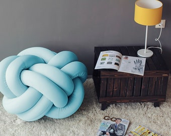 Knot Pouf Flexy in Baby Blue, Cube stool by Zappriani