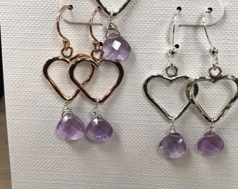 Hammered heart earrings and necklace with light Amyethst  drops