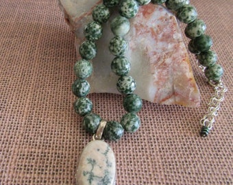 Tree Agate Necklace, Agate Jewelry, Tree Agate Beads, Dendritic Agate Pendant, Free Shipping