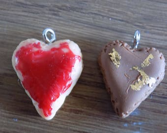 Set of 2 charms hearts grout and chocolate raspberry