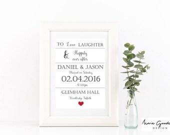 personalised wedding print, personalised location print, couples wedding present, personalised wedding gift, wedding keepsake, wedding gift