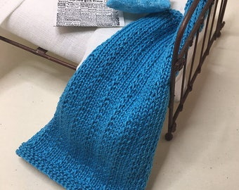 Shabby Chic Handmade Miniature Dollhouse Small Bed Throws - Hand Knitted  - Deep Turquoise