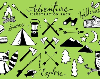 Adventure & Camping Clipart [Black + White Version] - rustic drawings, hand drawn clipart, woodland clipart, nature clip art, mountains art