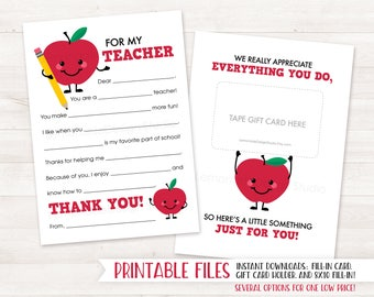 PRINTABLE Teacher Thank You Card, End of Year Teacher Gift Card Holder Teacher Appreciation Printable Appreciation Gift Fill in Teacher Card