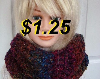 Women's winter scarf crochet pattern, Pull-Over cowl scarf, one hour, one skein project, # 624