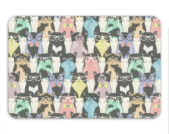 Nerdy Cats, Cat Pattern, Memory Foam Bath Mat - Printed in USA