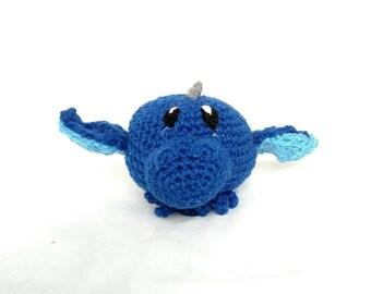 Blue Dragon Stuffed Animal - Mini Dragon - Hatchling - Blue w blue wings - Plush Toy - Machine Washable - Baby Shower Gift - Unisex