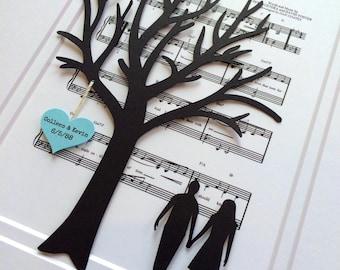 Personalized 1st Anniversary Gift, Sheet Music 3D Paper Tree Gift, Wedding First Dance, Wedding Lyric Tree, Wedding Song Artwork, Engagement