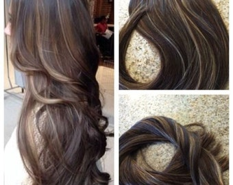 """5 Star Balayage Highlighted European Remy Tape-in Seamless weft 20"""" Hair Extensions 40pcs"""