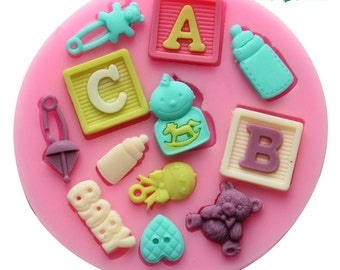 Sale ABC Baby Boy Bear Bottle Resin Mold Fondant Mold Flexible Silicone Mould  Resin mold Polymer Clay mold F0490