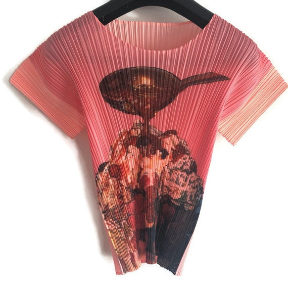 Sundae Runway Rare Designer Luxury Cream Ice Please Pleats 1990s Top Issey 90s Shirt Miyake Couture Vintage Japanese Collectible Shirt Yax1z7wCq