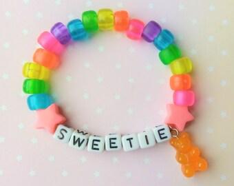 Jelly Rainbow Star Sweetie Gummy Bear Singular Kandi Bracelet - Kawaii Lolita Decora Fairy Kei Pastel Goth Harajuku Fashion Cute JFashion