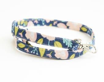 Floral Fabric Lanyard with Swivel Clasp - Long Key Lanyard - ID Strap - Teacher Lanyard - Cute Skinny Lanyard - Long or Short - Pink Navy