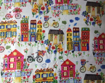 Flower Pedals Organic Cotton Fabric Bicycle House Carolyn Gavin Windham Metre/Fat Quarter FREE UK POSTAGE