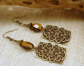 Antiqued Brass and Tiger Eye Dangle Earrings