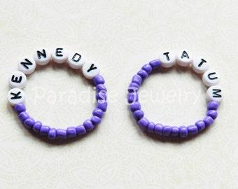 Identical Twins ID Bracelet Set Girls Purple Newborn ID Jewelry Name Bracelet Personalized Baby Keepsake Bracelets Twin Baby Gift Violet