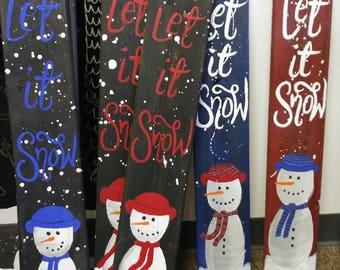 """Stand up decorative snowman boards """"Let it Snow"""""""